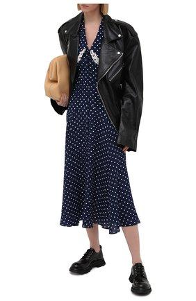Женское шелковое платье ALESSANDRA RICH синего цвета, арт. FAB2350-F3132 | Фото 2