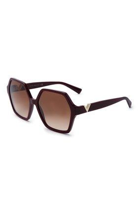 Женские солнцезащитные очки VALENTINO бордового цвета, арт. 4088-513913 | Фото 1 (Тип очков: С/з; Очки форма: Бабочка)