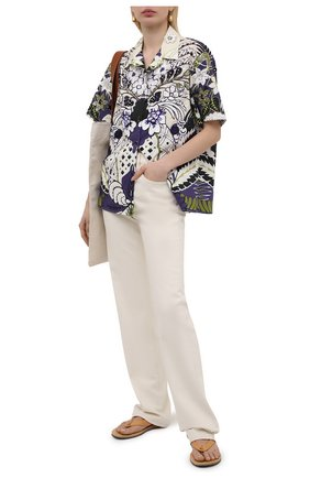 Женская хлопковая рубашка VALENTINO фиолетового цвета, арт. VB3AAA907A2 | Фото 2