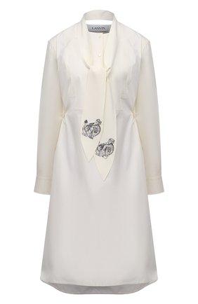 Женское хлопковое платье LANVIN кремвого цвета, арт. RW-DR202Y-4802-P21 | Фото 1