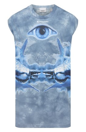 Женская хлопковая футболка BURBERRY синего цвета, арт. 4568004 | Фото 1