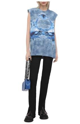 Женская хлопковая футболка BURBERRY синего цвета, арт. 4568004 | Фото 2