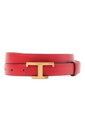 Женский кожаный ремень TOD'S красного цвета, арт. XCWTSI30101RBR   Фото 1