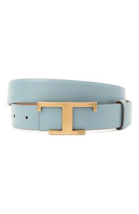 Женский кожаный ремень TOD'S голубого цвета, арт. XCWTSI10101RBR   Фото 1