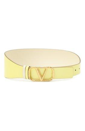 Женский кожаный пояс  VALENTINO желтого цвета, арт. VW0T0V50/VNC | Фото 1 (Кросс-КТ: Широкие)
