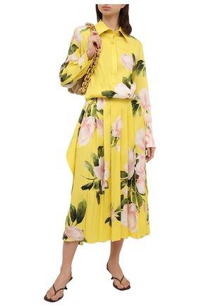 Женское шелковое платье VALENTINO желтого цвета, арт. VB0VAVM66CY   Фото 2 (Длина Ж (юбки, платья, шорты): Миди; Рукава: Длинные; Материал внешний: Шелк; Стили: Романтичный; Женское Кросс-КТ: Платье-одежда, платье-рубашка; Случай: Повседневный)