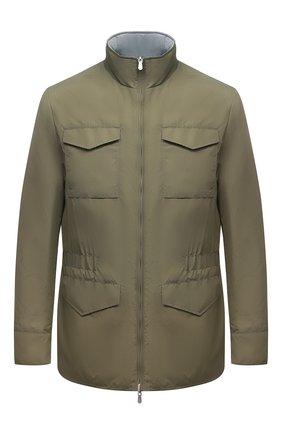 Мужская двусторонняя куртка BRUNELLO CUCINELLI хаки цвета, арт. MW4386495 | Фото 1 (Материал внешний: Синтетический материал; Рукава: Длинные; Материал подклада: Синтетический материал; Стили: Кэжуэл, Милитари; Кросс-КТ: Ветровка, Куртка; Длина (верхняя одежда): До середины бедра)