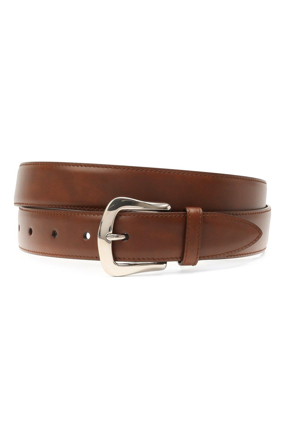 Мужской кожаный ремень BRUNELLO CUCINELLI коричневого цвета, арт. MAURN346 | Фото 1