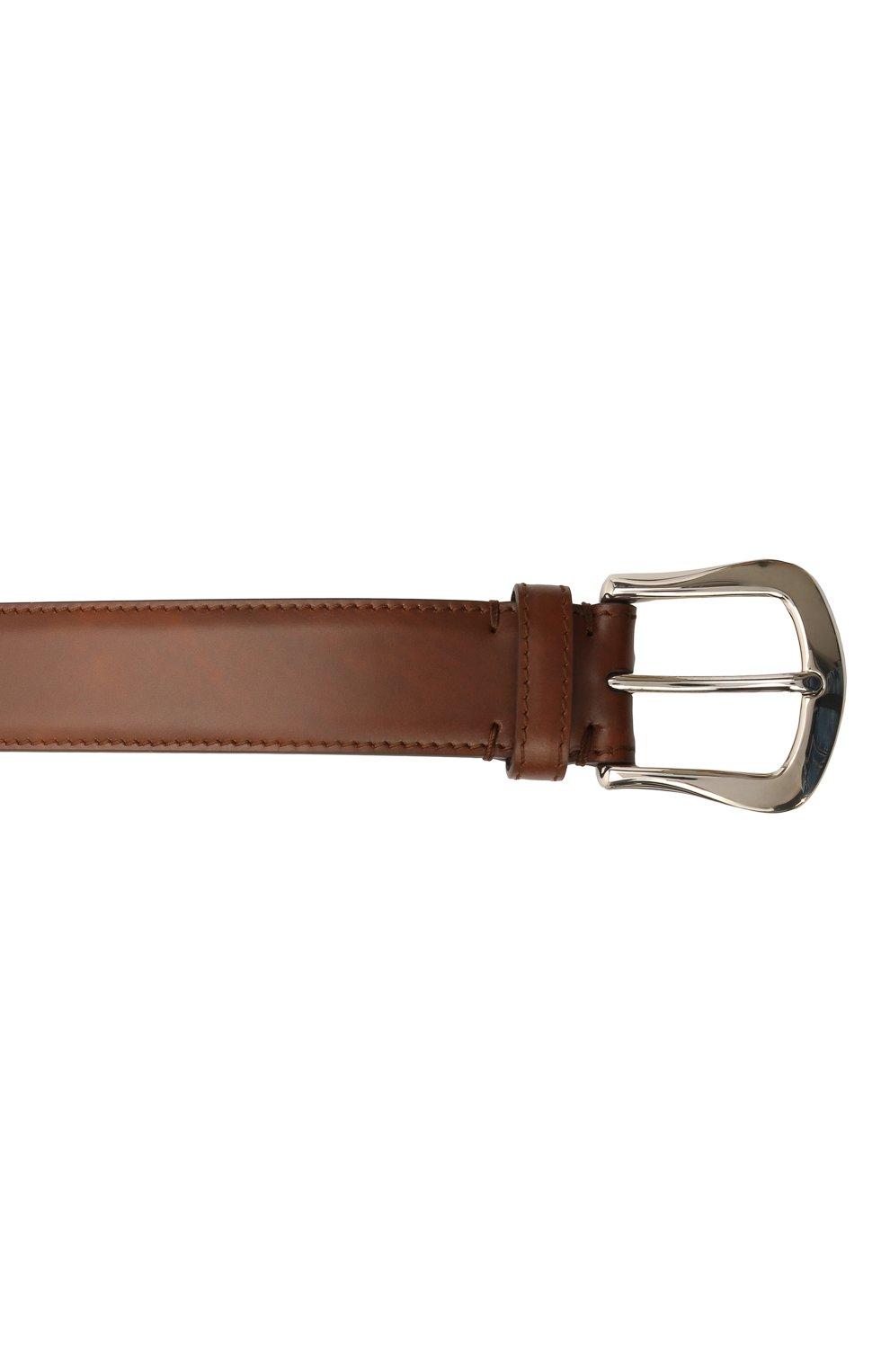 Мужской кожаный ремень BRUNELLO CUCINELLI коричневого цвета, арт. MAURN346 | Фото 3