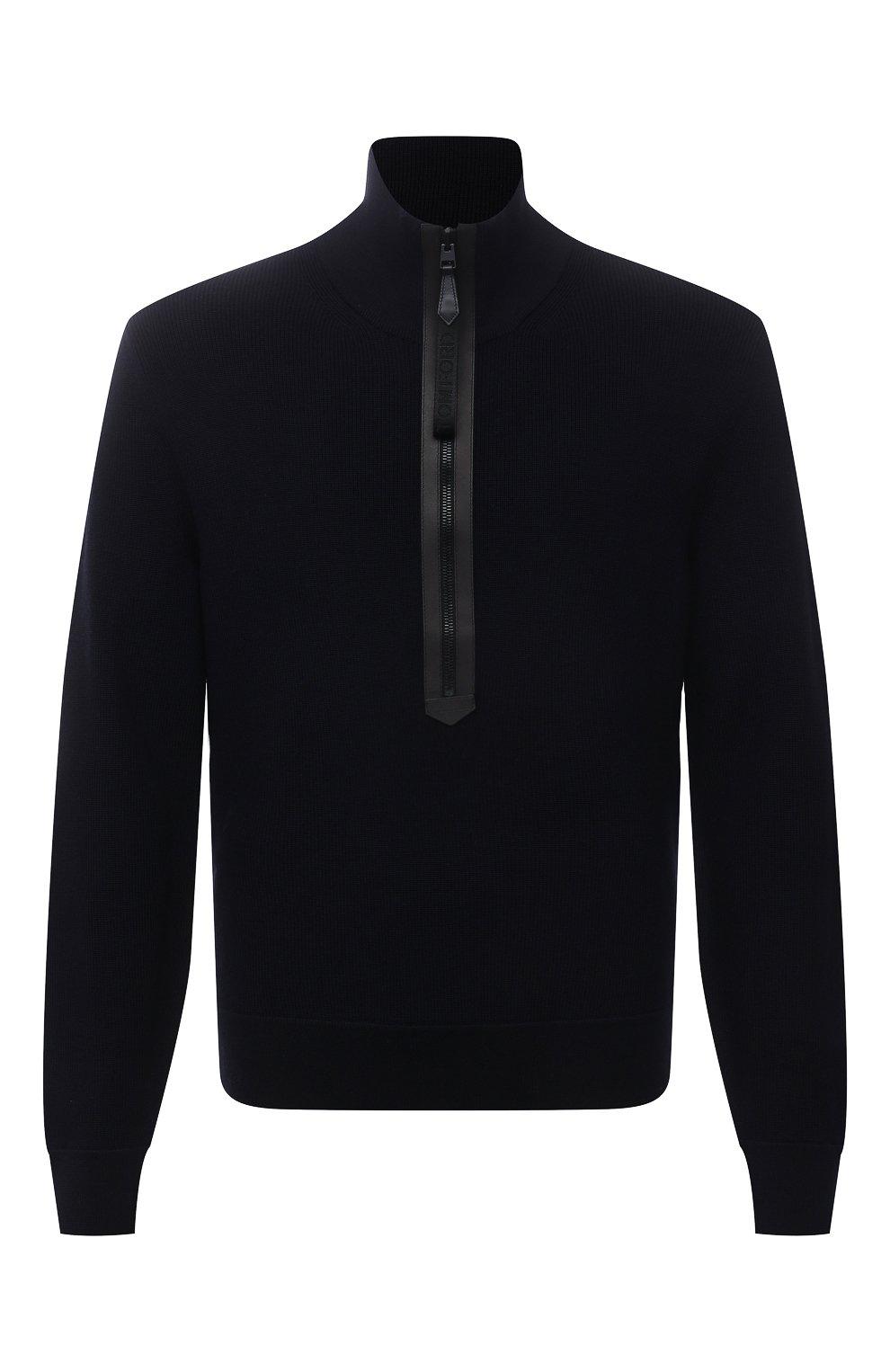 Мужской шерстяной свитер TOM FORD темно-синего цвета, арт. BWM2N/TFK125 | Фото 1