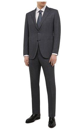 Мужской шерстяной костюм ZILLI серого цвета, арт. MMV-P1241Z1-55601/0001 | Фото 1 (Рукава: Длинные; Материал подклада: Купро; Материал внешний: Шерсть; Стили: Классический; Костюмы М: Однобортный)