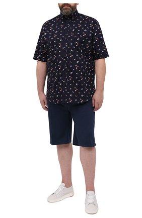 Мужская хлопковая рубашка PAUL&SHARK темно-синего цвета, арт. 21413453/C00 | Фото 2
