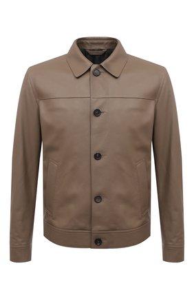 Мужская кожаная куртка BRIONI коричневого цвета, арт. PLZ90L/P7708 | Фото 1