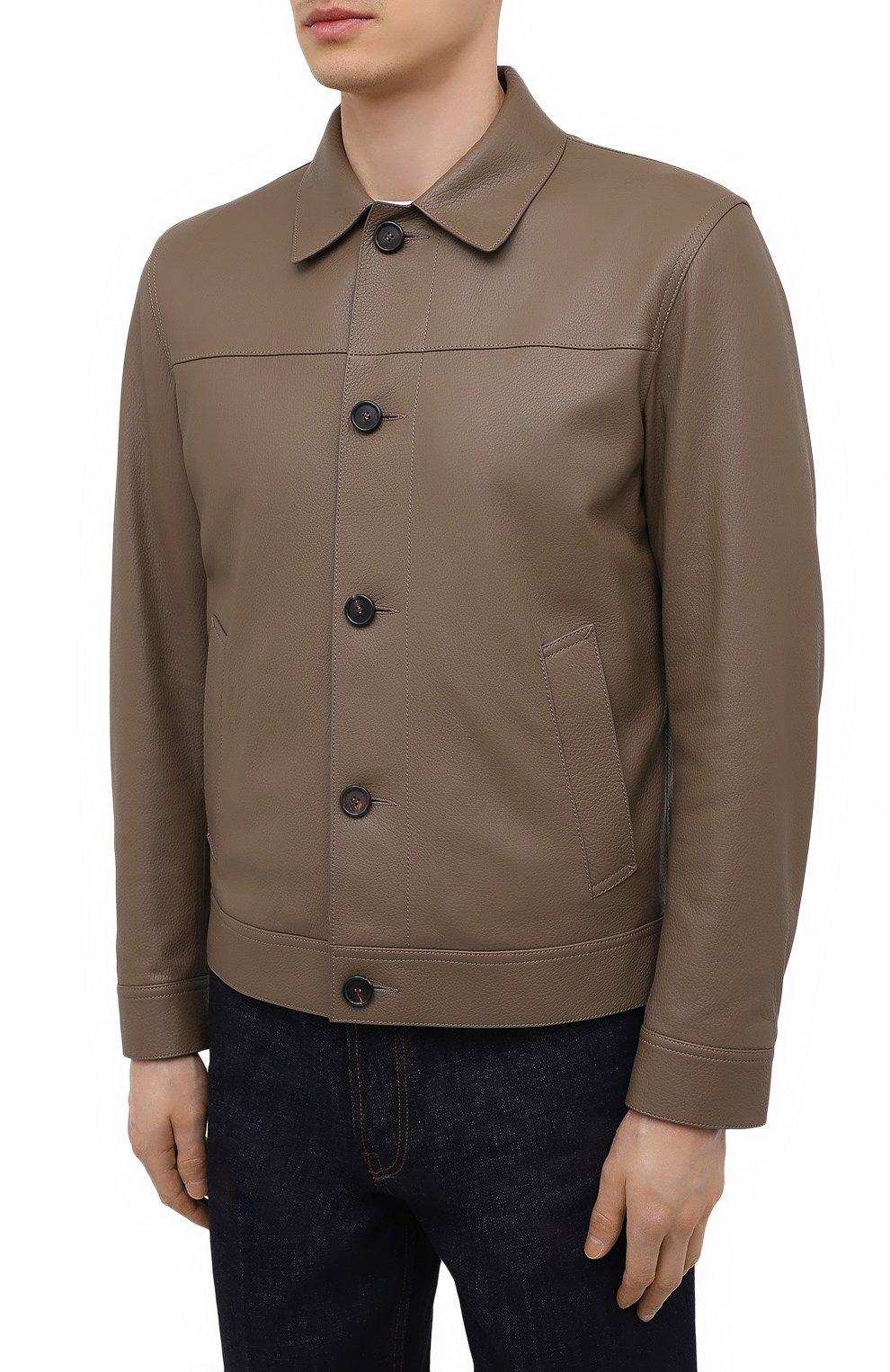 Мужская кожаная куртка BRIONI коричневого цвета, арт. PLZ90L/P7708 | Фото 3