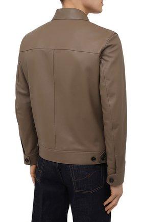 Мужская кожаная куртка BRIONI коричневого цвета, арт. PLZ90L/P7708 | Фото 4