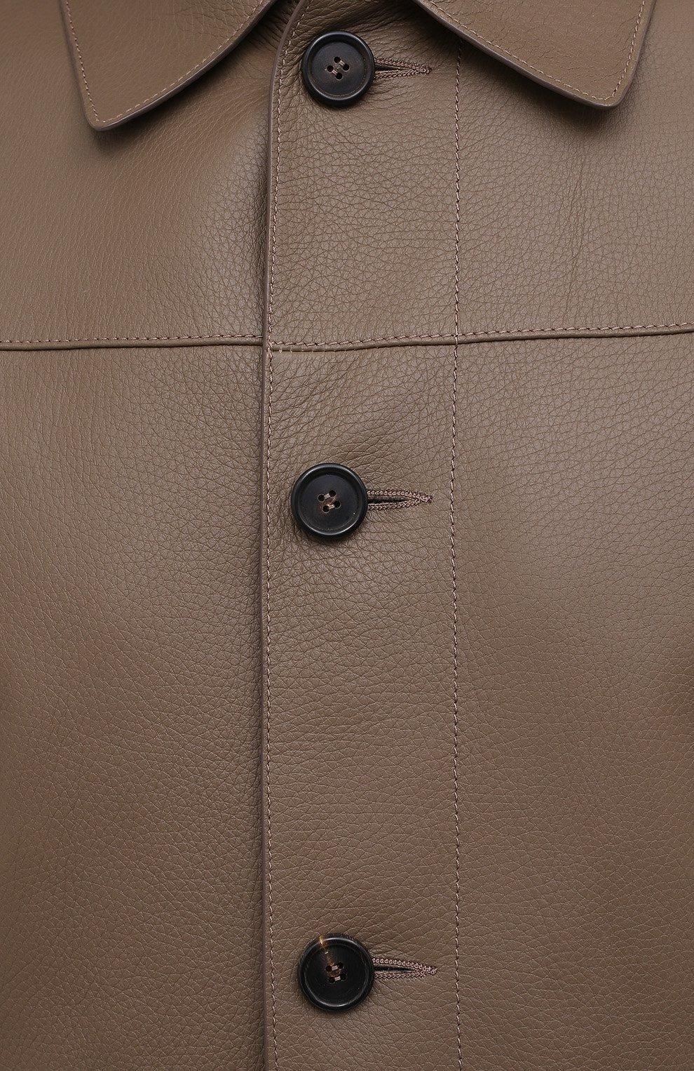 Мужская кожаная куртка BRIONI коричневого цвета, арт. PLZ90L/P7708 | Фото 5