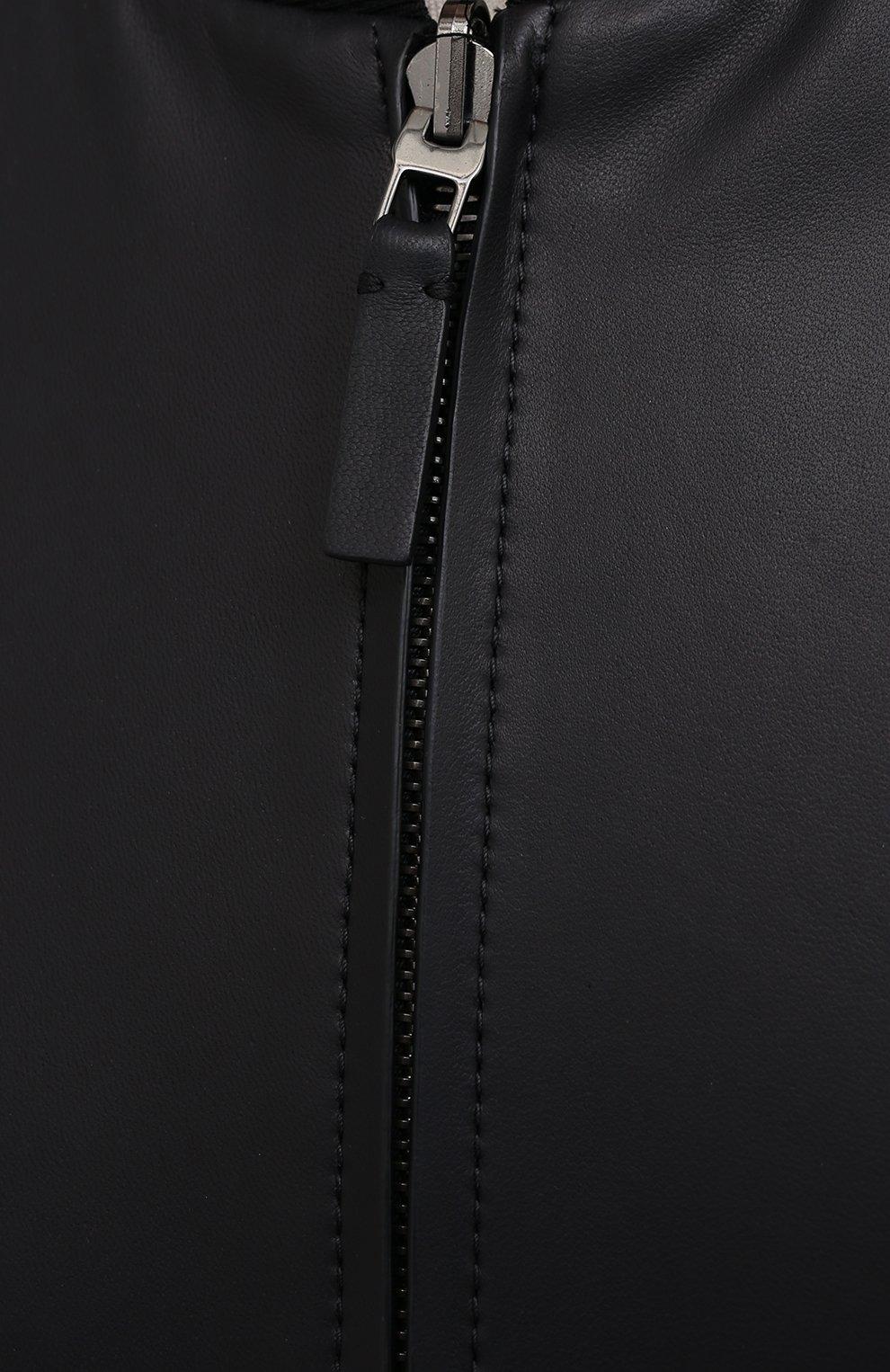 Мужской кожаный бомбер BRIONI темно-синего цвета, арт. PBC30L/P0701 | Фото 5
