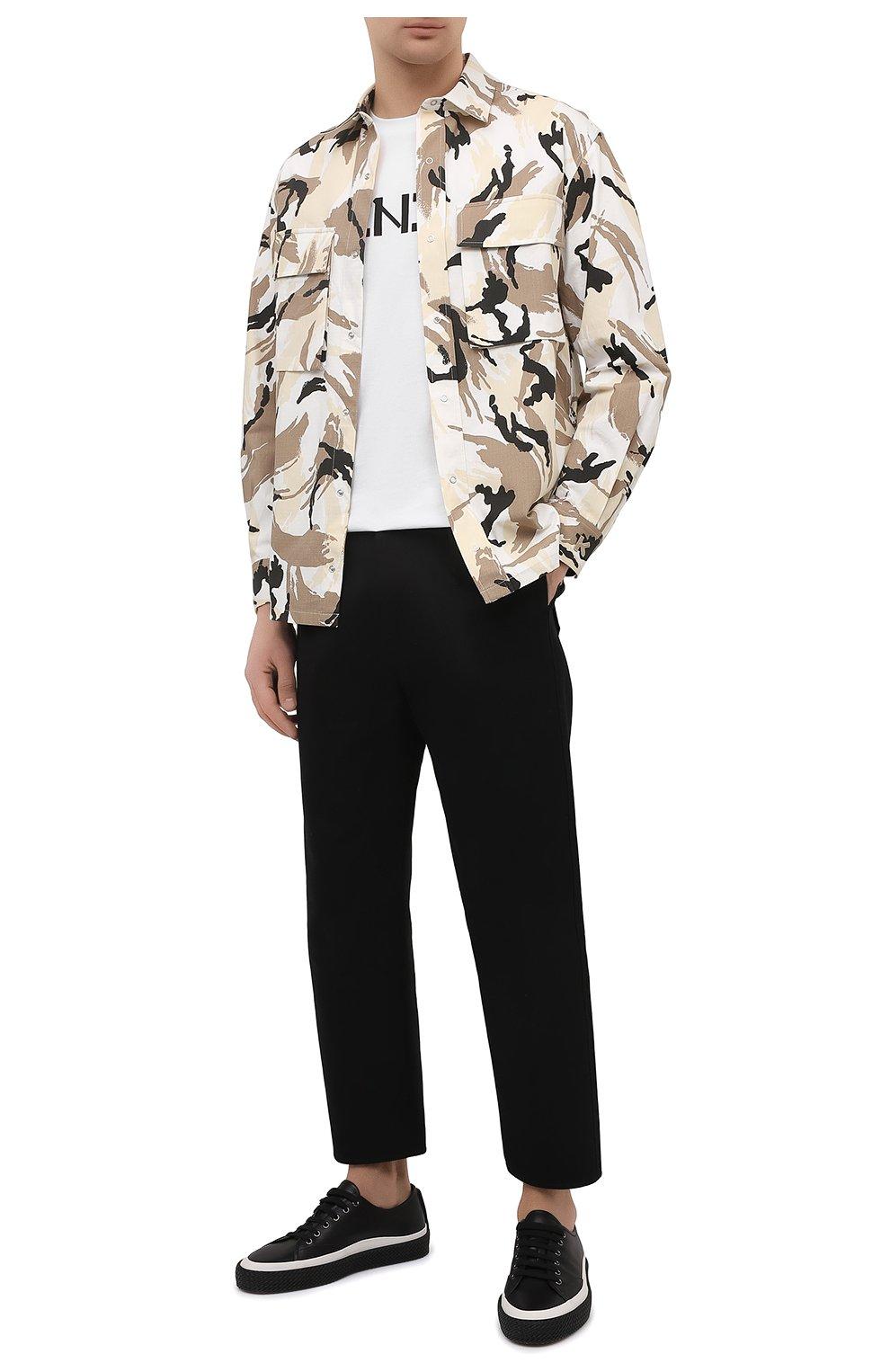 Мужская хлопковая футболка KENZO белого цвета, арт. FA65TS0004SJ   Фото 2 (Рукава: Короткие; Длина (для топов): Стандартные; Принт: С принтом; Материал внешний: Хлопок; Стили: Кэжуэл)