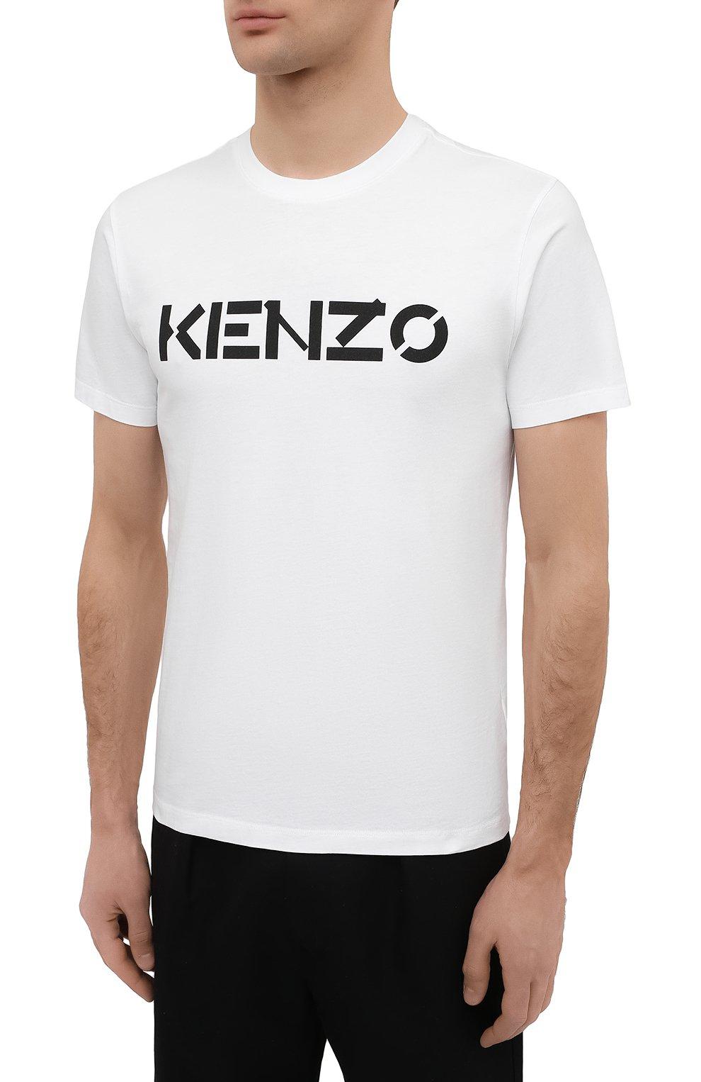 Мужская хлопковая футболка KENZO белого цвета, арт. FA65TS0004SJ   Фото 3 (Рукава: Короткие; Длина (для топов): Стандартные; Принт: С принтом; Материал внешний: Хлопок; Стили: Кэжуэл)