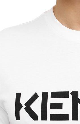 Мужская хлопковая футболка KENZO белого цвета, арт. FA65TS0004SJ   Фото 5 (Рукава: Короткие; Длина (для топов): Стандартные; Принт: С принтом; Материал внешний: Хлопок; Стили: Кэжуэл)