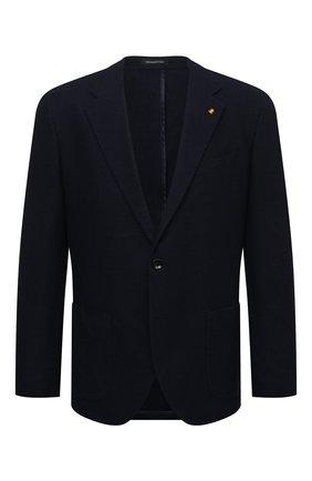 Мужской хлопковый пиджак SARTORIA LATORRE темно-синего цвета, арт. JEF74 JE4133 | Фото 1 (Материал внешний: Хлопок; Длина (для топов): Стандартные; Материал подклада: Вискоза; Рукава: Длинные; 1-2-бортные: Однобортные; Случай: Коктейльный; Пиджаки М: Приталенный; Стили: Кэжуэл)