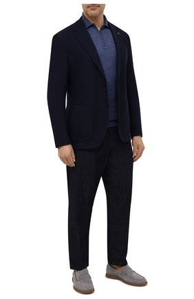 Мужской хлопковый пиджак SARTORIA LATORRE темно-синего цвета, арт. JEF74 JE4133 | Фото 2 (Материал внешний: Хлопок; Длина (для топов): Стандартные; Материал подклада: Вискоза; Рукава: Длинные; 1-2-бортные: Однобортные; Случай: Коктейльный; Пиджаки М: Приталенный; Стили: Кэжуэл)