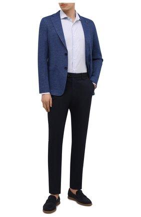 Мужской пиджак из хлопка и льна SARTORIA LATORRE темно-синего цвета, арт. JDEC0 JE3071 | Фото 2 (Материал внешний: Хлопок; Длина (для топов): Стандартные; Пиджаки М: Приталенный; Случай: Повседневный; Материал подклада: Вискоза; 1-2-бортные: Однобортные; Стили: Кэжуэл; Рукава: Длинные)