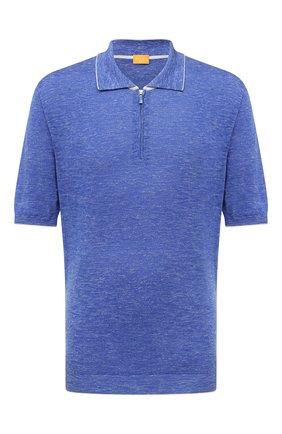 Мужское поло из шелка и льна SVEVO синего цвета, арт. 6405SE21L/MP64 | Фото 1