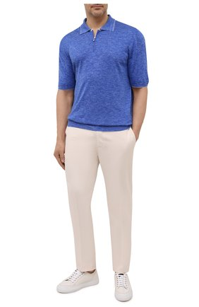 Мужское поло из шелка и льна SVEVO синего цвета, арт. 6405SE21L/MP64 | Фото 2