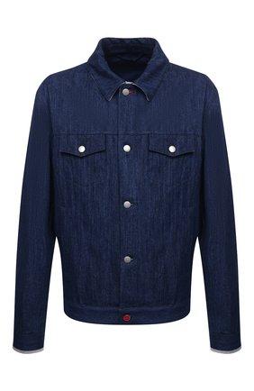 Мужская джинсовая куртка KITON синего цвета, арт. UW0948MV07T92/60-68 | Фото 1