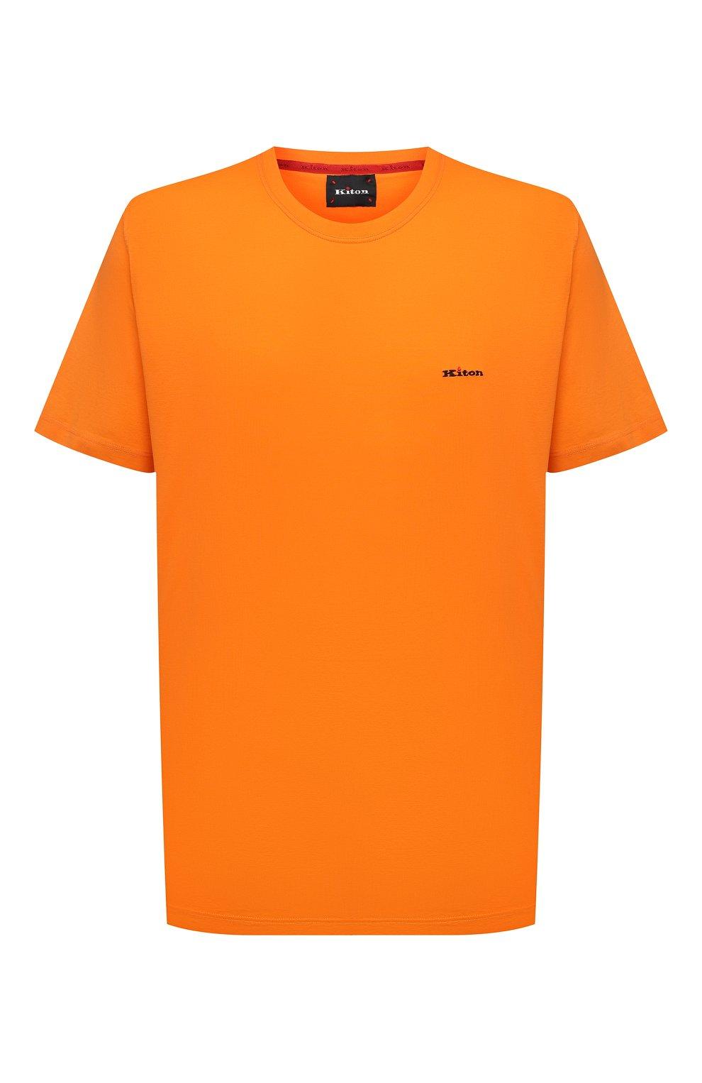 Мужская хлопковая футболка KITON оранжевого цвета, арт. UK1274L | Фото 1