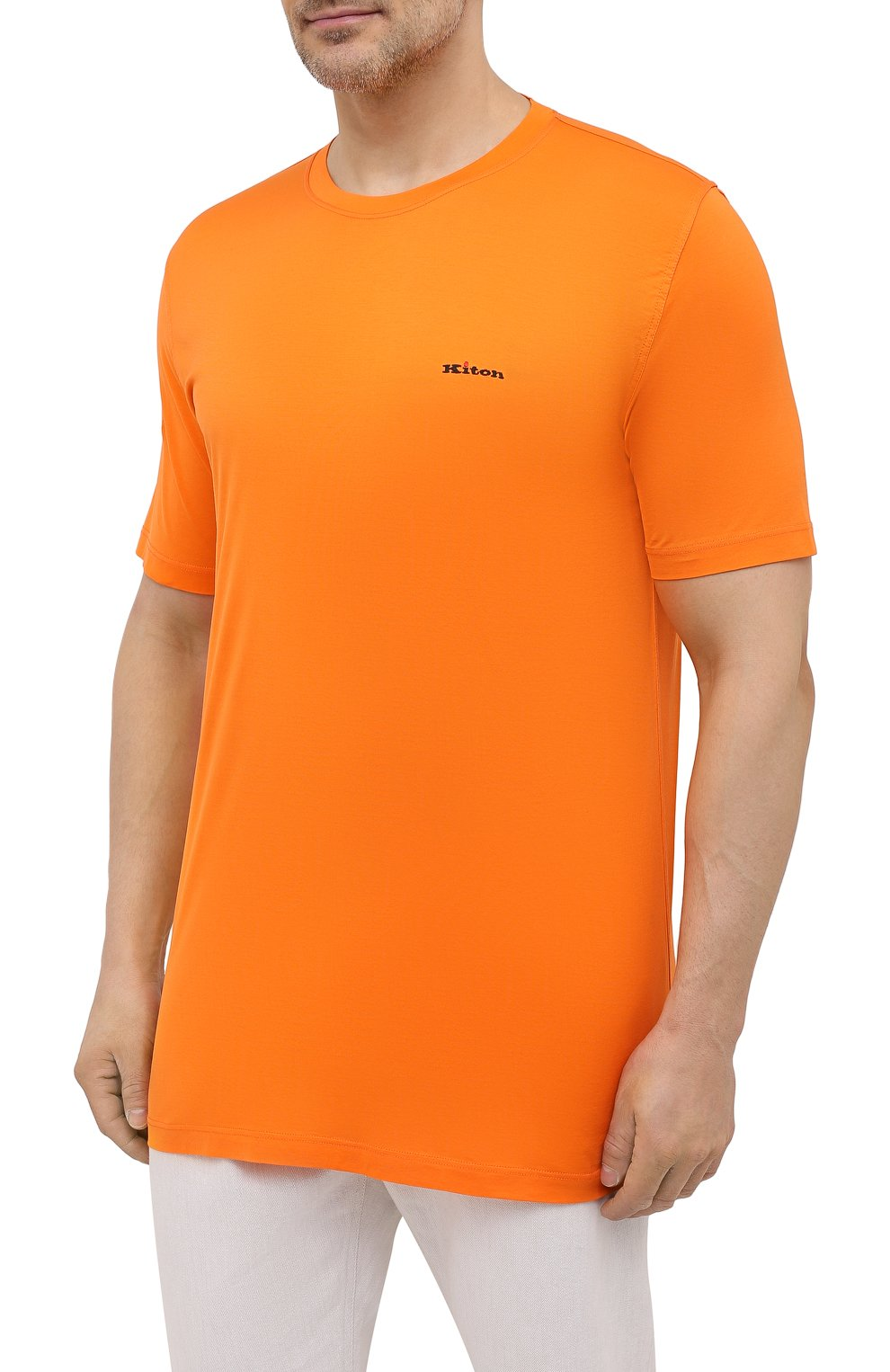 Мужская хлопковая футболка KITON оранжевого цвета, арт. UK1274L | Фото 3