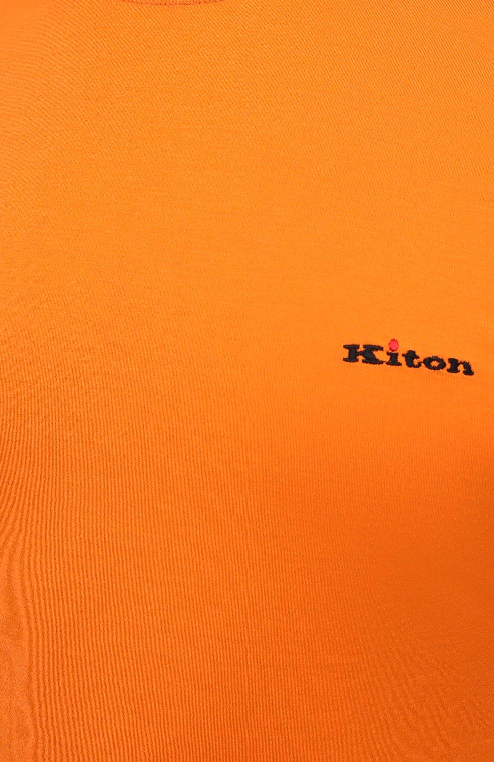 Мужская хлопковая футболка KITON оранжевого цвета, арт. UK1274L | Фото 5