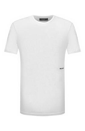Мужская хлопковая футболка RELIGION белого цвета, арт. 11BJSN96   Фото 1 (Материал внешний: Хлопок; Рукава: Короткие; Длина (для топов): Стандартные; Принт: С принтом; Стили: Панк)