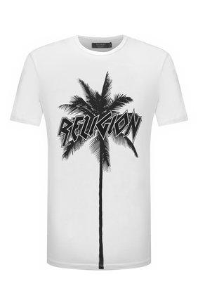 Мужская хлопковая футболка RELIGION черно-белого цвета, арт. 11TPMN96 | Фото 1