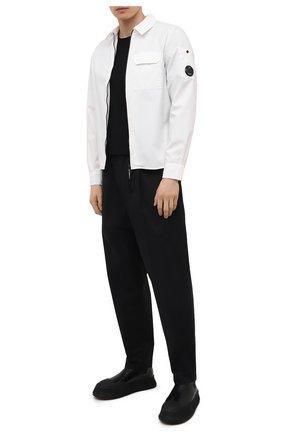 Мужская хлопковая рубашка C.P. COMPANY белого цвета, арт. 10CMSH173A-002824G | Фото 2