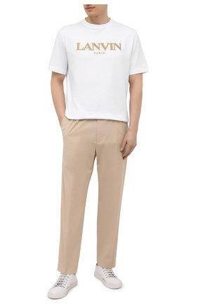 Мужские хлопковые брюки AMBUSH бежевого цвета, арт. BMCA017S21FAB001 | Фото 2