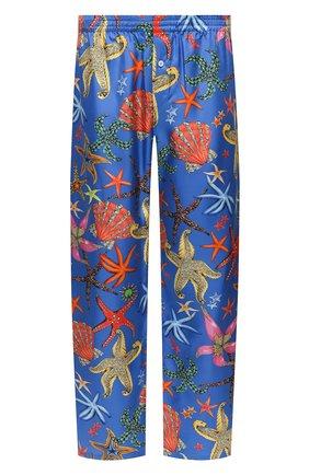 Мужские шелковые домашние брюки VERSACE синего цвета, арт. AUU05051/1F01193 | Фото 1