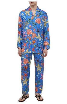 Мужские шелковые домашние брюки VERSACE синего цвета, арт. AUU05051/1F01193 | Фото 2
