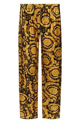 Мужские шелковые домашние брюки VERSACE желтого цвета, арт. AUU05051/A232999 | Фото 1 (Длина (брюки, джинсы): Стандартные; Материал внешний: Шелк; Кросс-КТ: домашняя одежда; Мужское Кросс-КТ: Брюки-белье)