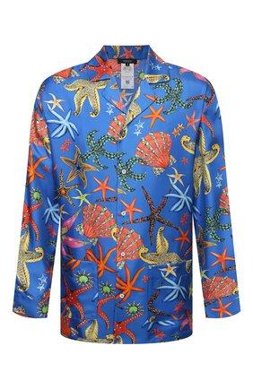 Мужская шелковая сорочка VERSACE синего цвета, арт. AUU05060/1F01193 | Фото 1