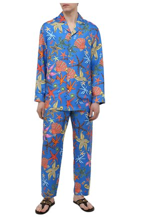 Мужская шелковая сорочка VERSACE синего цвета, арт. AUU05060/1F01193 | Фото 2