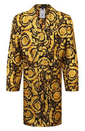 Мужской шелковый халат VERSACE желтого цвета, арт. AUU05062/A232999   Фото 1