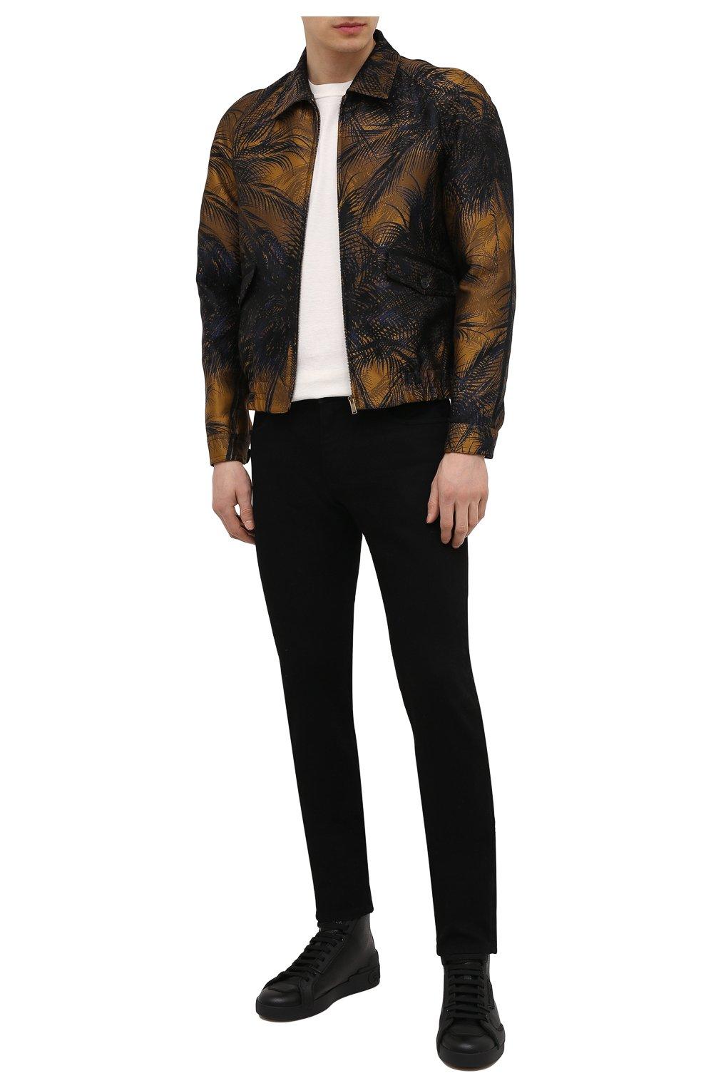 Мужские кожаные кеды portofino light DOLCE & GABBANA черного цвета, арт. CS1866/A0259 | Фото 2