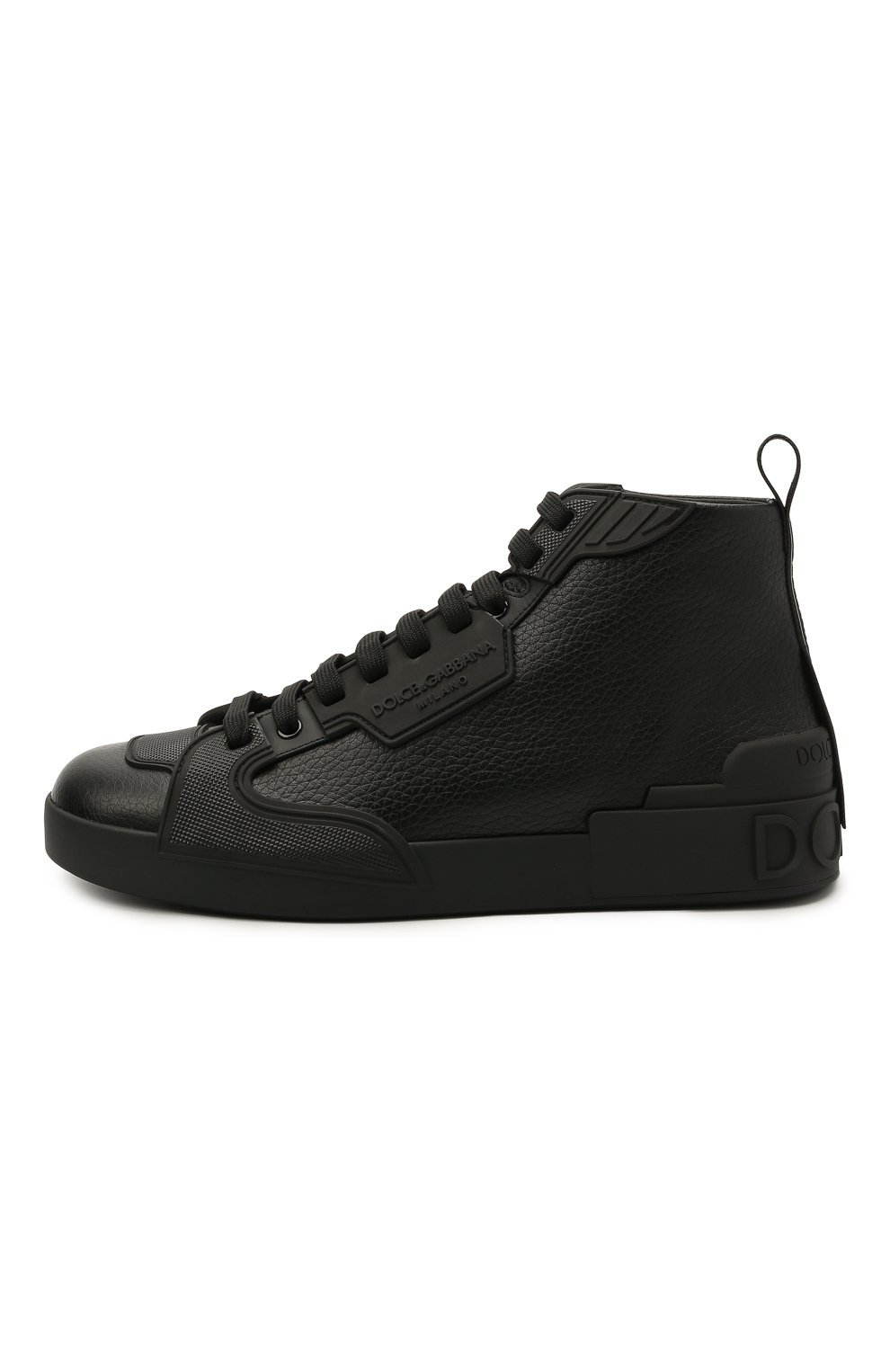 Мужские кожаные кеды portofino light DOLCE & GABBANA черного цвета, арт. CS1866/A0259 | Фото 3