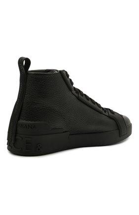 Мужские кожаные кеды portofino light DOLCE & GABBANA черного цвета, арт. CS1866/A0259 | Фото 4