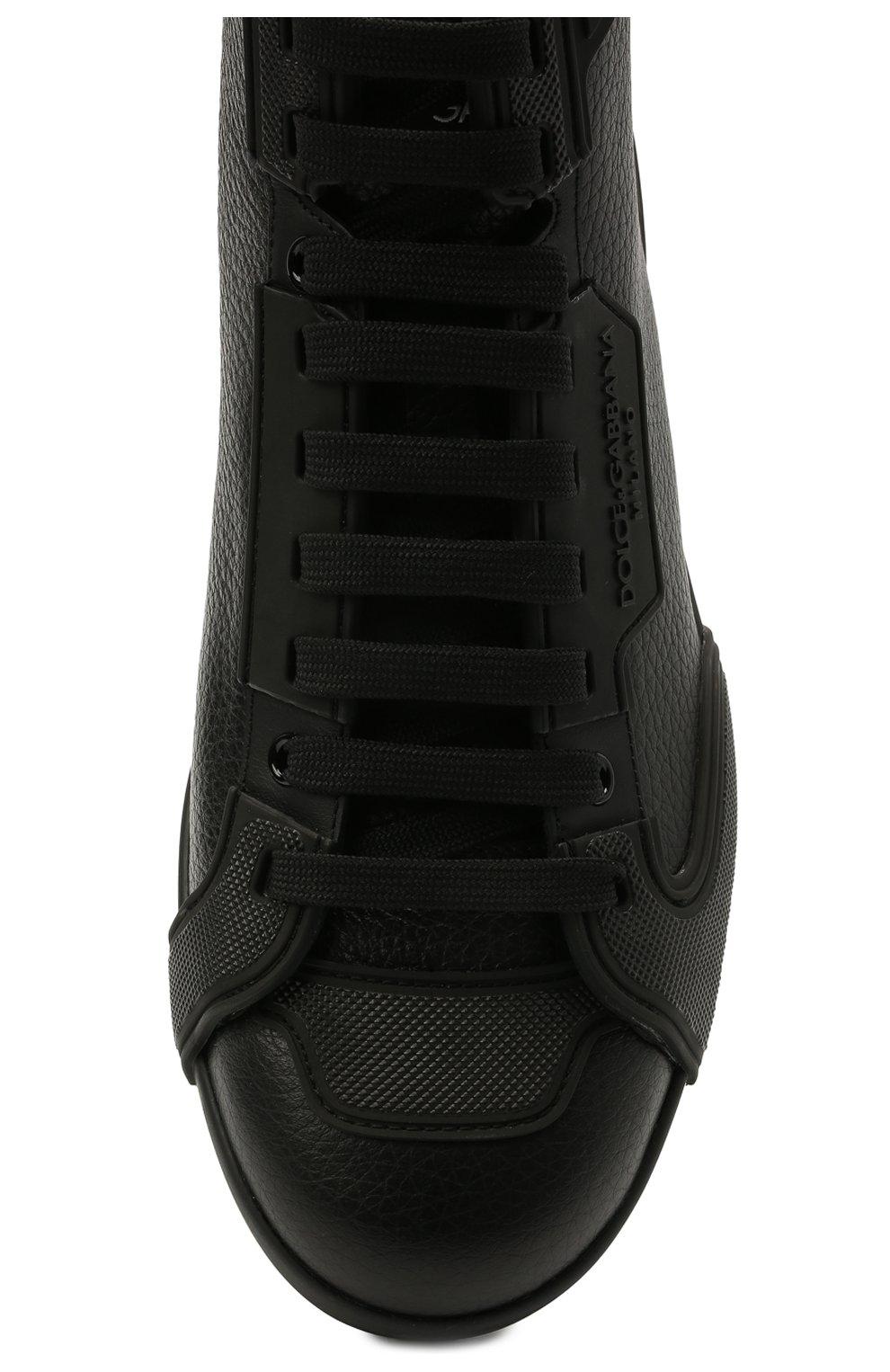 Мужские кожаные кеды portofino light DOLCE & GABBANA черного цвета, арт. CS1866/A0259 | Фото 5