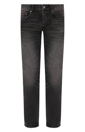 Мужские джинсы SAINT LAURENT серого цвета, арт. 597052/Y823D | Фото 1 (Материал внешний: Хлопок, Деним; Длина (брюки, джинсы): Стандартные; Кросс-КТ: Деним; Детали: Потертости; Стили: Кэжуэл; Силуэт М (брюки): Прямые)