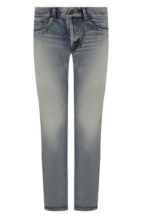 Мужские джинсы SAINT LAURENT голубого цвета, арт. 597052/Y372E | Фото 1 (Материал внешний: Хлопок, Деним; Длина (брюки, джинсы): Стандартные; Кросс-КТ: Деним; Детали: Потертости; Стили: Кэжуэл; Силуэт М (брюки): Прямые)