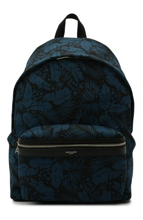 Мужской текстильный рюкзак city SAINT LAURENT синего цвета, арт. 534967/2ND1F | Фото 1 (Материал: Текстиль; Ремень/цепочка: На ремешке)
